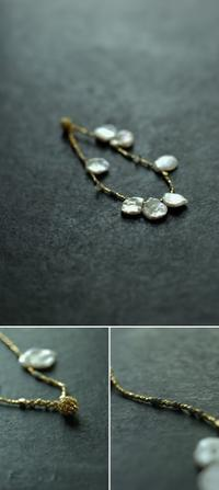 - p e t a l - keshi pearl × herkimer diamond  gold bracelet - womb_a_closet