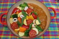 夏野菜のココナッツカレーと自家製チャパティ。ついでにパクチー&チリソースのパクチリ料理。 - キムチ屋修行の道