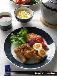 ストウブで♪ 鶏手羽元の梅酒煮と、とうもろこしご飯 - Cache-Cache+