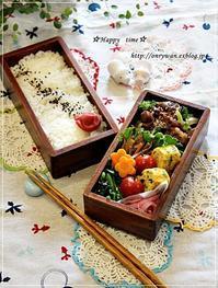 牛肉ブロッコリーのオイスターソース炒め弁当とミルクチョコハース♪ - ☆Happy time☆
