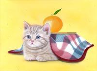 リアリズム絵画:[萌獣] ねこたつ:メイキング - junya.blog(猫×犬)リアリズム絵画