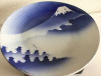 染付 富士文 大皿 - 大正から昭和の器
