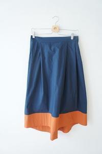 切り替えイレギュラーヘムスカート~ネイビー×オレンジ~ - ハンドメイドで親子お揃い服 omusubi-five(オムスビファイブ)