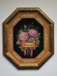トールペイントで描く ピンクのバラのブーケ作品。 - 大畑悦子の想い出ペインティング