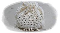 引き上げ編みの白色巾着 - かぎ針編みで簡単かわいい小物作りAtelier*sora*hana@さいたま市浦和
