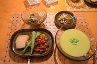 空豆のポタージュ/まかじきのムニエル/ラタトゥイユ/肉味噌と枝豆の和え物/スルメイカとセロリの塩炒め - まほろば日記