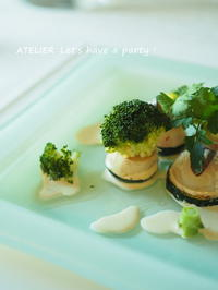 ホタテとズッキーニのクリームソース~「5月のテーブルコーディネート&おもてなし料理レッスン」より - ATELIER Let's have a party ! (アトリエレッツハブアパーティー)         テーブルコーディネート&おもてなし料理教室