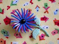 青と紫の小ぶりのエナメル花ブローチ -  Der Liebling ~蚤の市フリークの雑貨手帖2冊目~