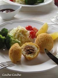 ストウブで♪ 鴨肉のポテトコロッケ - Cache-Cache+