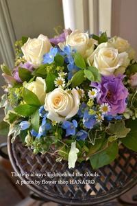 結婚記念日に♪ホワイト×パープル×ブルーで爽やかアレンジメント。 - 花色~あなたの好きなお花屋さんになりたい~