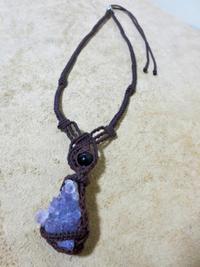【マクラメ&ヘンプ】#127 クラスターアメジストのネックレス - Shop Gramali Rabiya (SGR)