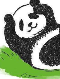 上野のパンダ - アメリカ輸入のシール♪住所/名前/お好きな文字を印刷してお届け♪アドレスラベルです。