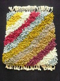 作品について(結び織りマット)2 - イクトスマイムの手織り活動~草木染めの糸を使って~