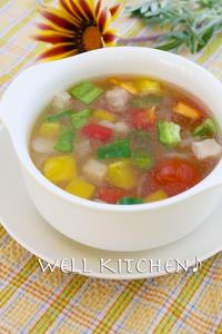 Ahhhh昼休み 味はバッチリ 鮮やか 華やか 賑やか コンソメスープ - 家族みんなのニコニコごはん