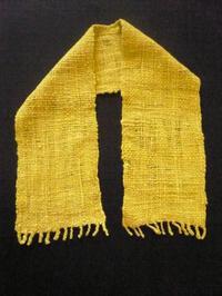 作品について(手紡ぎマフラー)1 - イクトスマイムの手織り活動~草木染めの糸を使って~