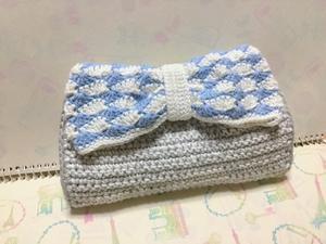 逆さ松編みのポーチ編みました。 - 作ってる時間が楽しいから