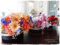 Flower arrangements in round boxes. - Garden Diary