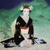 「初春」日本画 116.7×116.7㎝ 岩絵の具 箔 紙本 - 黒川雅子のデッサン  BLOG版