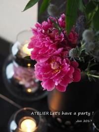 芍薬の美しさ~「6月のテーブルコーディネート&おもてなし料理レッスン」より - ATELIER Let's have a party ! (アトリエレッツハブアパーティー)         テーブルコーディネート&おもてなし料理教室
