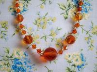 オレンジ色スワロフスキーのネックレス -  Der Liebling ~蚤の市フリークの雑貨手帖2冊目~