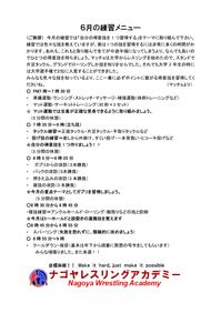 レスリング教室6月の練習メニューについて - NPO法人ナゴヤレスリングアカデミー公式ブログ