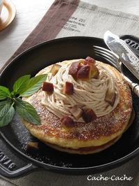 ストウブ ホットプレートで、モンブランパンケーキ & 鯖ちゃん♪ - Cache-Cache+