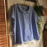丸衿の裾レースブラウス - Flora 大人服とナチュラル雑貨