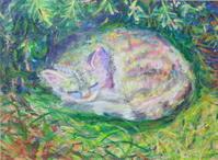 猫の絵 - 絵を描きながら