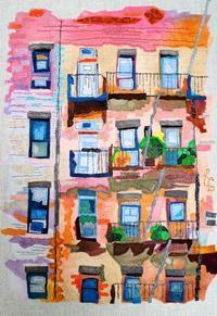 布絵「New Yorkの裏通り」 - 布画作家の制作日記