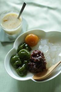 完熟梅の甘露煮とわらび餅のあんみつ - cookie's cookie