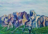 Castle Mountain - 絵を描きながら