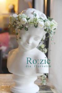 2017.6.28 白×グリーンの花冠+バックコサージュ/プリザーブドフラワー - Ro:zic die  floristin