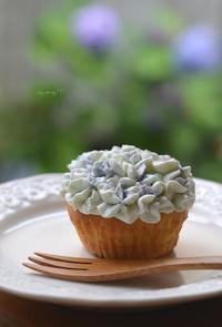 紫陽花のカップケーキ おいりのカップケーキ  - my story***