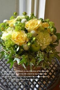 周年祝いに♪クリームイエローで爽やか!フラワーアレンジメント。 - 花色~あなたの好きなお花屋さんになりたい~