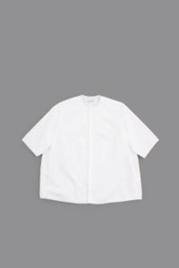 NO CONTROL AIR Cotton Typewriter No-Collar S/S Shirt (White) - un.regard.moderne