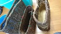 古い籠に持ち手付け - 古布や麻の葉