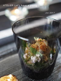 きゅうりとみょうがの和サラダ~「6月のテーブルコーディネート&おもてなし料理レッスン」より - ATELIER Let's have a party ! (アトリエレッツハブアパーティー)         テーブルコーディネート&おもてなし料理教室