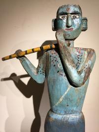 インド クリシュナ神 木彫像 - MANOFAR マノファー