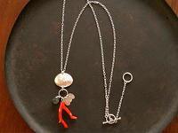 珊瑚×ラブラドライト ネックレス - 石と銀の装身具