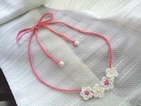 お花のネックレス、シンプルりぼん - D-E