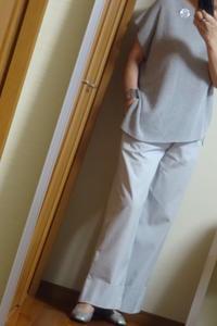 グレーの幅広パンツとサマーセーター - おしゃれ自己満足日記