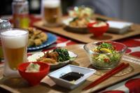 インゲンの肉巻きフライと冷やし中華風サラダ! - ワタシの呑日記
