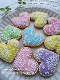 パステルカラーのハートアイシングクッキー - nanako*sweets-cafe♪