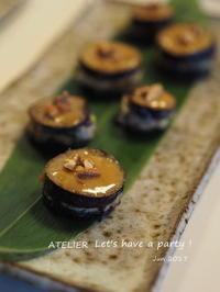 茄子のはさみ焼き~「6月のテーブルコーディネート&おもてなし料理レッスン」より - ATELIER Let's have a party ! (アトリエレッツハブアパーティー)         テーブルコーディネート&おもてなし料理教室