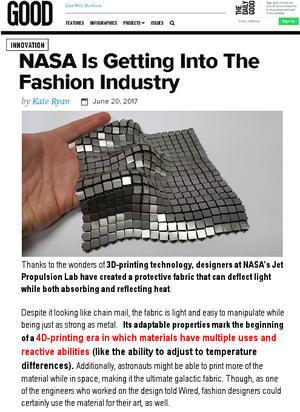 NASAがファッション業界へ?! 4Dプリンティング時代の幕開け?! - ニューヨークの遊び方