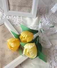 黄色いチューリップ - handmade flower maya