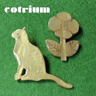 ネコとおはなブローチ♪ - cotrium(コトリウム) 手作り雑貨(マト・とり・動物など)