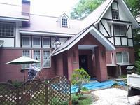 玄関周りの塗装 - 浅間高原・北軽井沢 ペンション・ローエングリンの高原日記