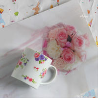 お花のマグカップ - トールペイントとポーセラーツ アトリエ おつかいサンタさん