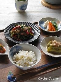 ストウブで♪ 豚肉とゴーヤの味噌炒め、生姜の炊き込みご飯、焼き茄子など。 - Cache-Cache+